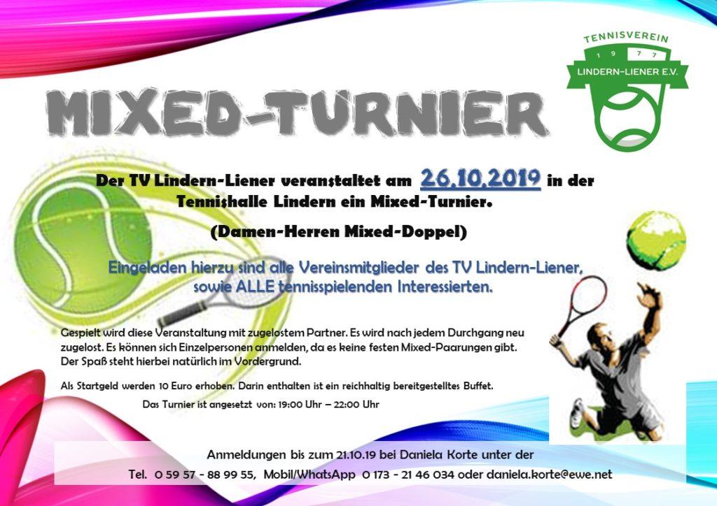 Mixed-Turnier am 26.10.2019
